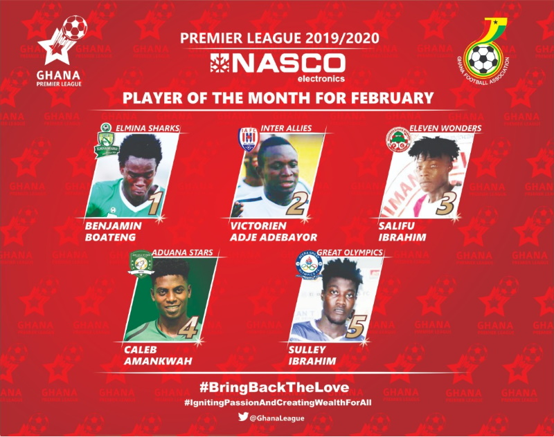 Ghana Premier League Player of the month for February nominees announced