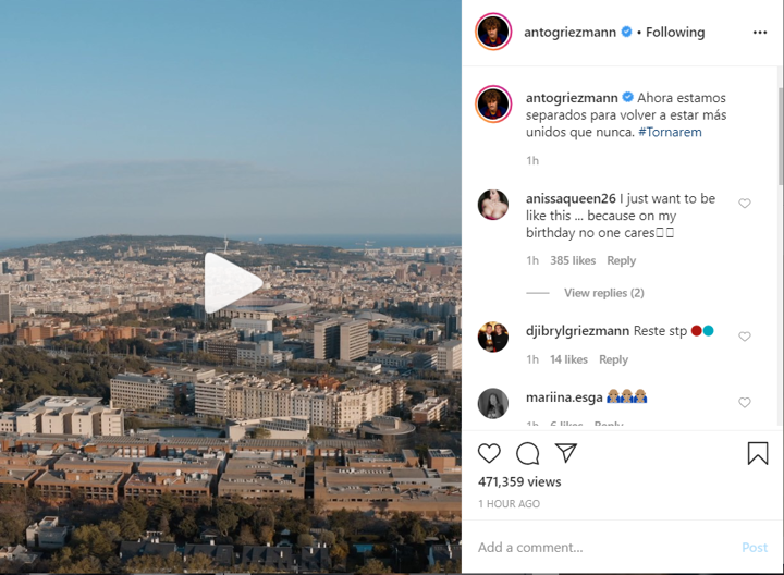 Separated to be more united than ever! - Griez posts video with Barca anthem 🎥