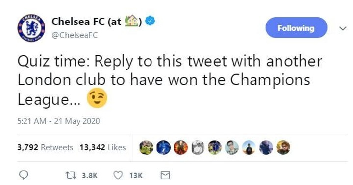 Chelsea ask fans to name another London club to have won UCL except Blues