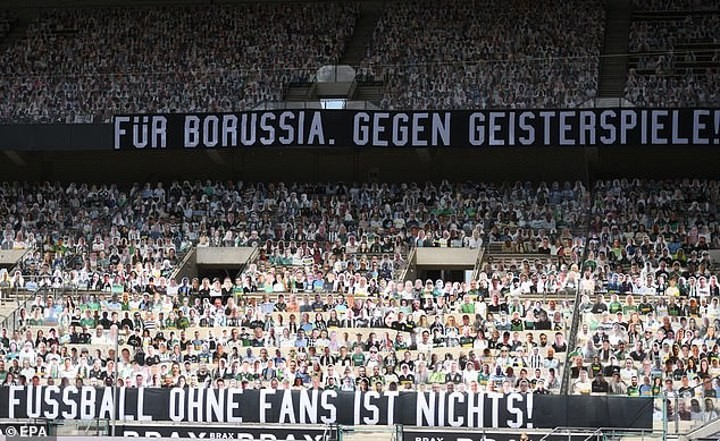Gladbach fans stage protest their exclusion from Bundesliga return with banners