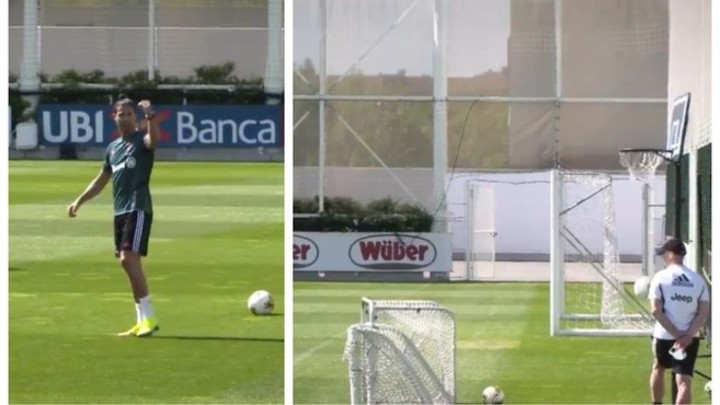 Ronaldo does sublime trick with a basketball hoop during Juventus training
