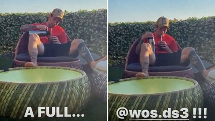 Messi drinks Mate while listening to Argentinian rapper Wos in garden 🎥