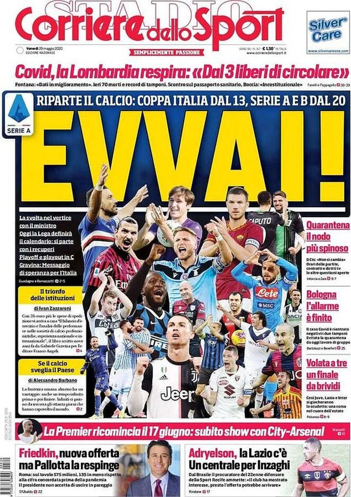 'What a summer!' - Italian papers react to the news of Serie A's return