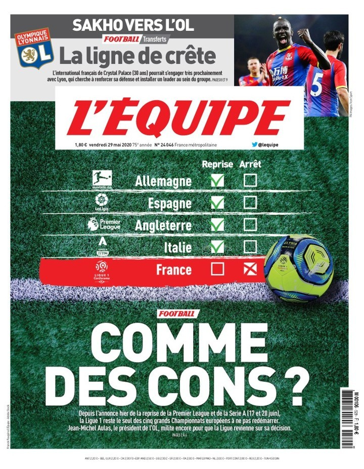 'Like idiots?' - L'Equipe issue angry front page to slam Ligue 1 cancellation