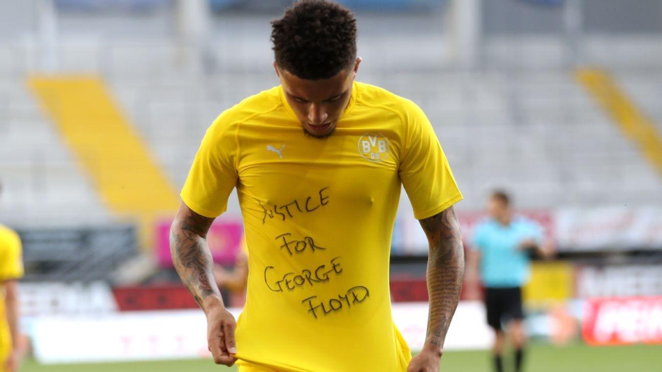 Dortmund's Jadon Sancho dedicates goal to George Floyd