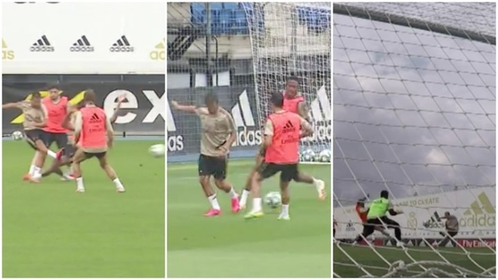 Hazard recovers well as he shows backheel skills during Real Madrid training 🎥