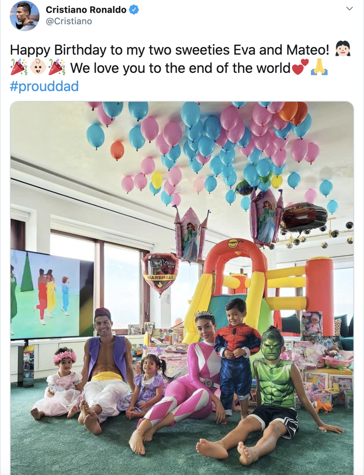 Ronaldo sends birthday wishes to his 'sweeties' Eva and Mateo in special style
