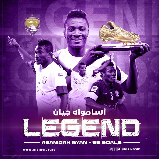 "Al Ain celebrates legend and cult hero Asamoah Gyan for ""unforgettable moments"""