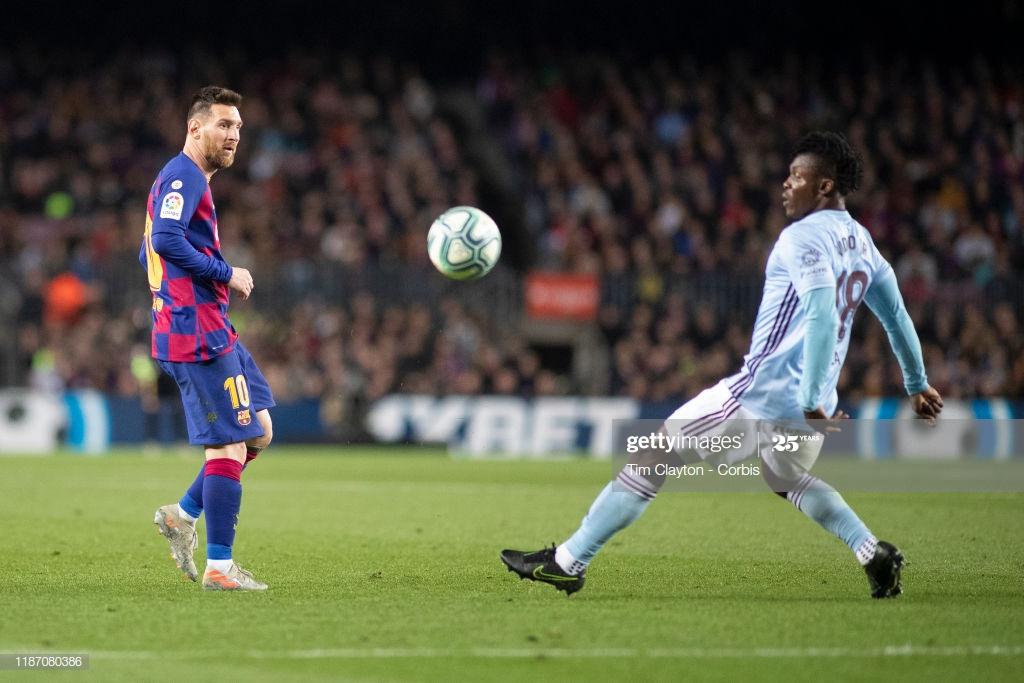 Ghana's Joseph Aidoo clocks another five-star performance as Celta Vigo dent Barcelona title charge