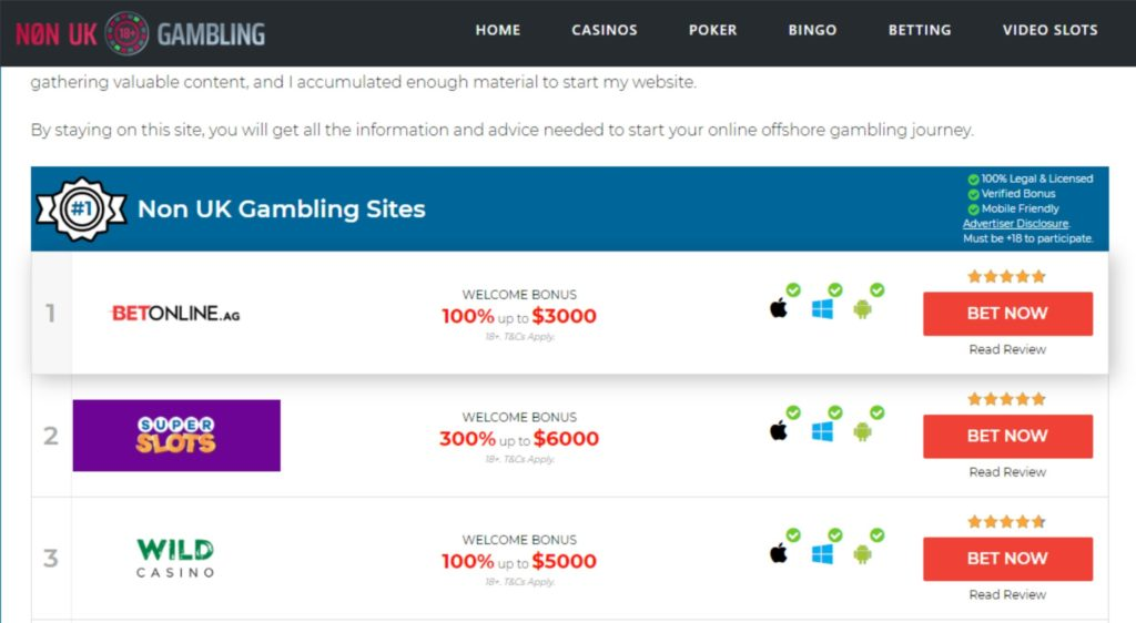 Non UK Gambling Website Goes Live