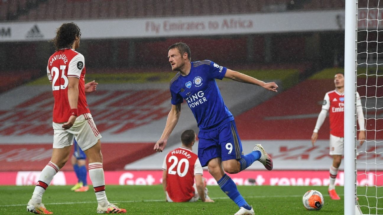 Vardy haunts Arsenal again, edging Leicester closer to UCL place