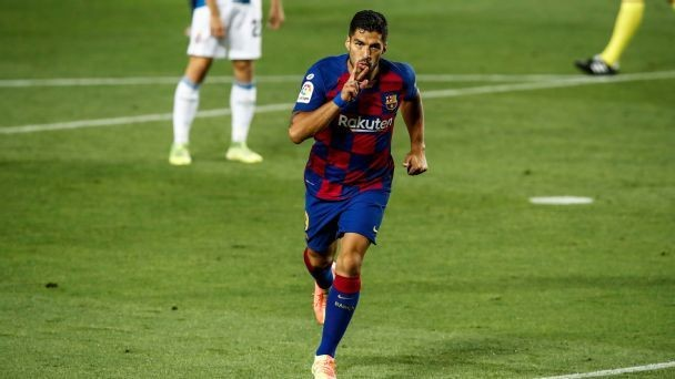 Suarez saves Barca in win, Espanyol relegated
