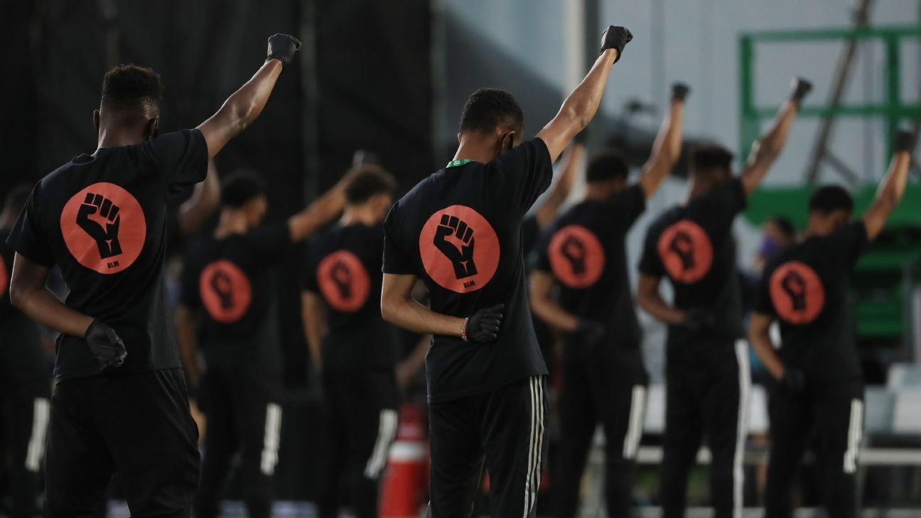 Players raise fists in support of BLM ahead of MLS restart
