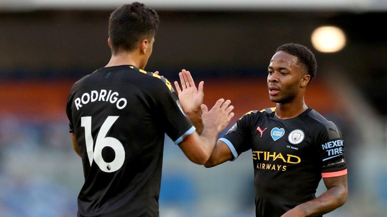 Sterling hat trick as Man City batter Brighton