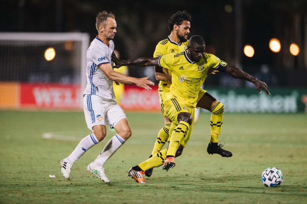 Ghana's Jonathan Mensah reacts to Columbus Crew opening day victory in MLS Is Back tournament