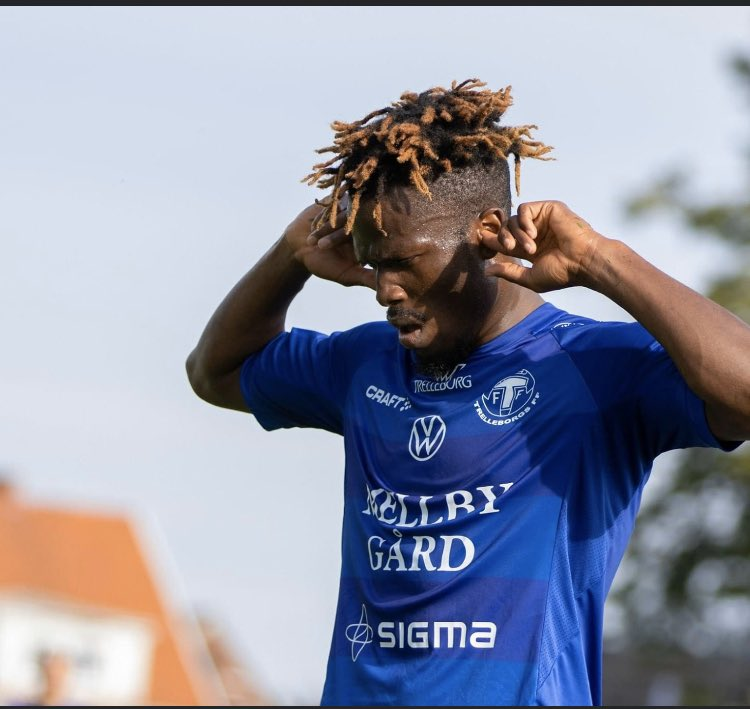 Fatawu Safiu reacts after bagging hat-trick for Trelleborgs FF