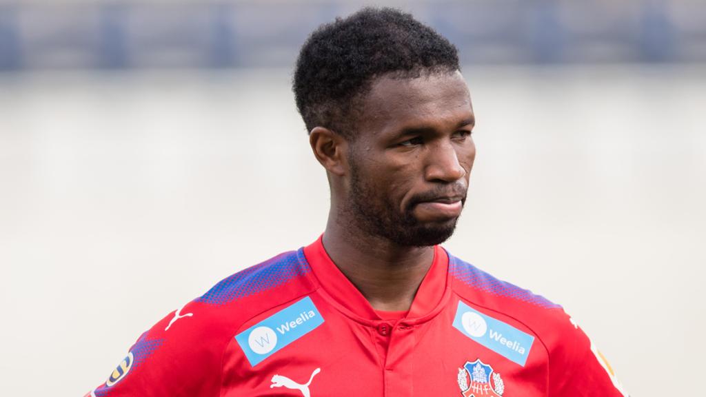 Helsingborg midfielder Mohammed Abubakari laments over refereeing in defeat against Mjallby