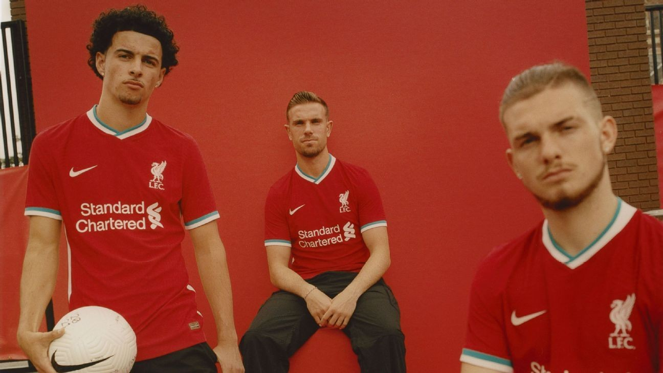 Liverpool's champions reveal teal and white trim on new 2020-21 home kit
