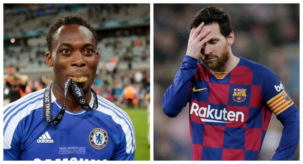 Michael Essien is only the only player Messi hasn't won against