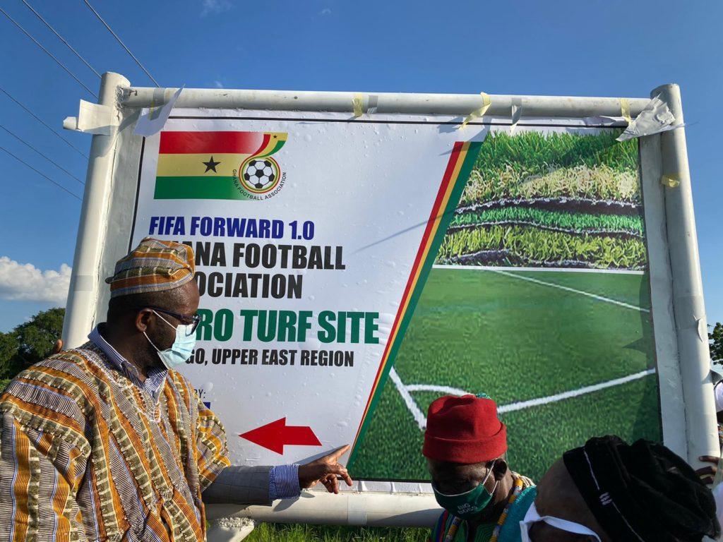 """PHOTOS: Ghana FA chief Kurt Okraku inspects facility for construction of """"historic"""" Astro Turf in Bolgatanga"""