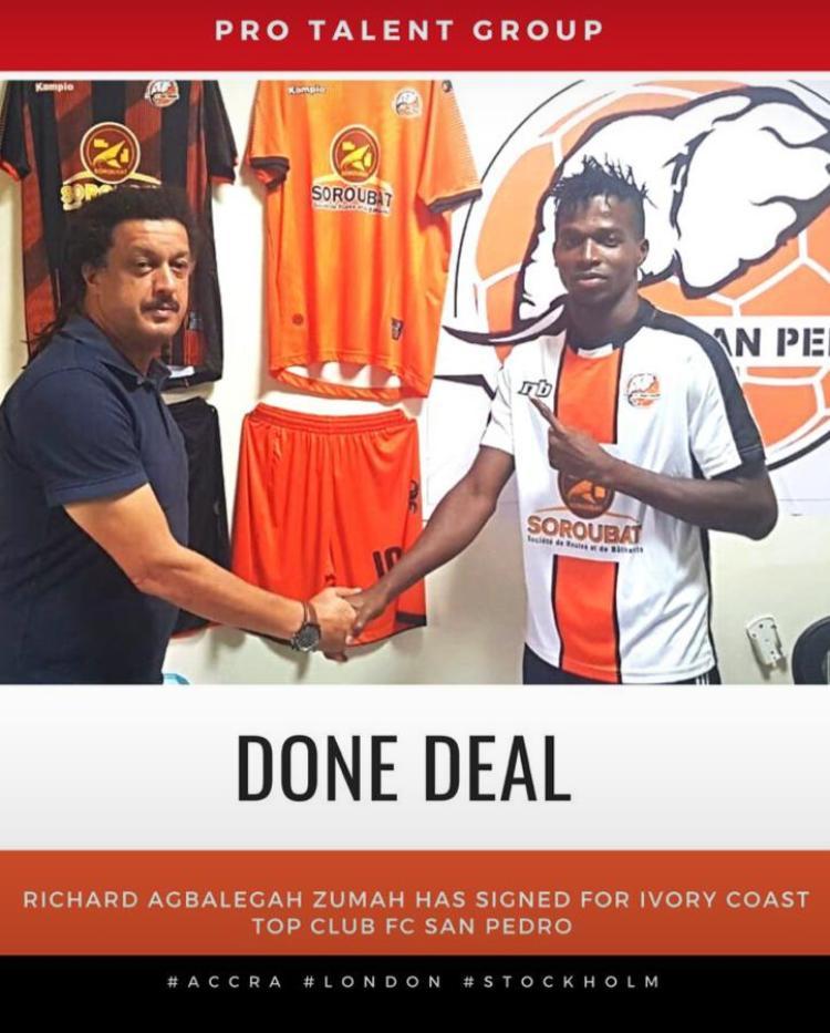 Ivorian top division side FC San Pedro snap up Ghanaian forward Richard Zumah