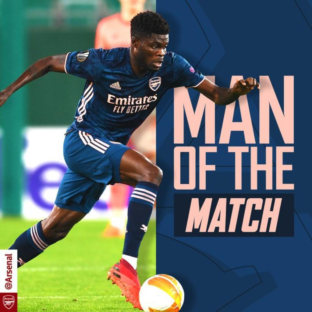 Thomas Partey named Man-of-the-Match on full Arsenal debut in Rapid Vienna clash
