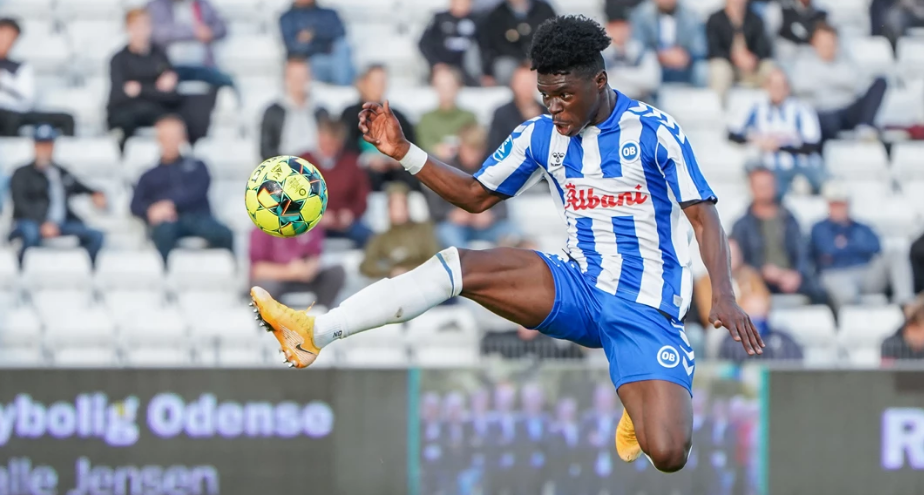 Ghanaian forward Emmanuel Sabbi scores for Odense in defeat to FC Midjtylland