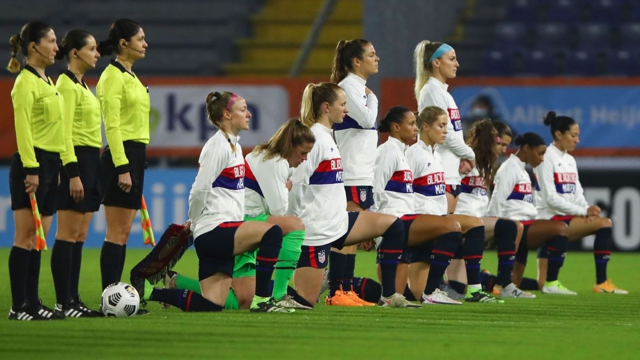 USWNT show BLM support, kneel during anthem
