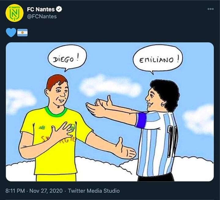 Nantes spark huge response on Twitter after posting cartoon drawing Maradona