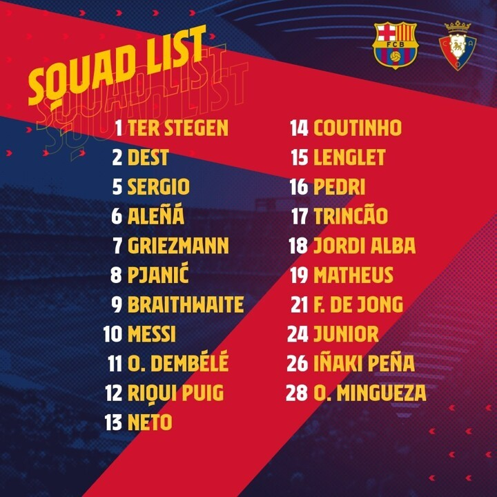Messi leads Barca squad to face Osasuna as Busquets back