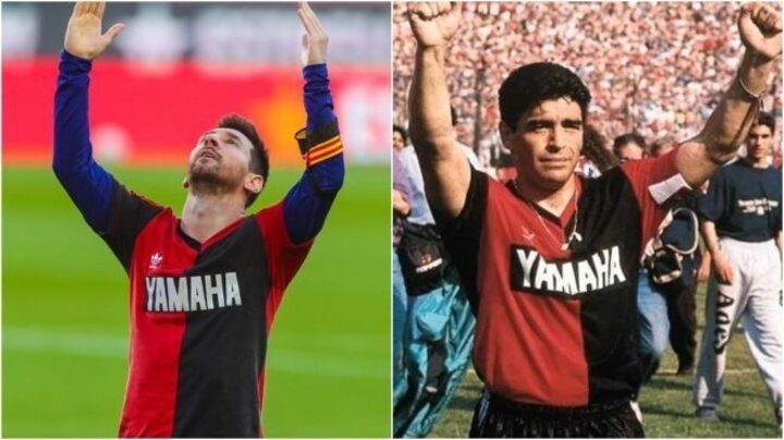 Messi scores wonder goal and reveals Newell Old Boys shirt in Maradona's honour