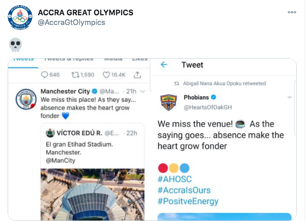 Great Olympics trolls Hearts of Oak over paraphrasing Manchester City