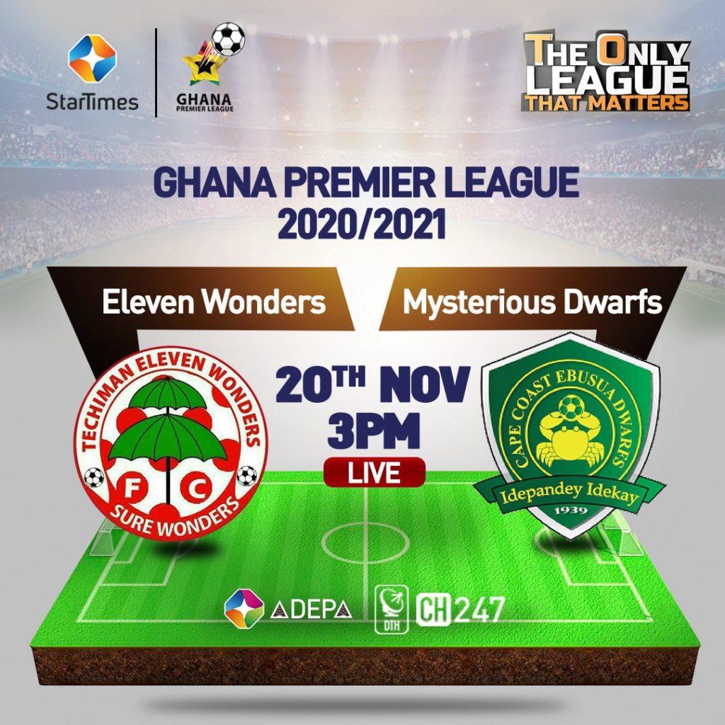 2020/21 Ghana Premier League: FULL TIME - Eleven Wonders 2-0 Dwarfs