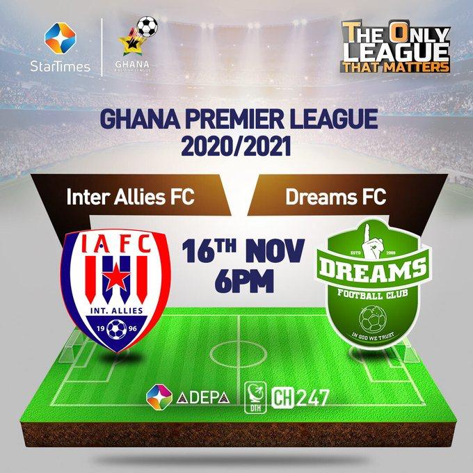 2020/21 Ghana Premier League: Live Updates! Inter Allies v Dreams