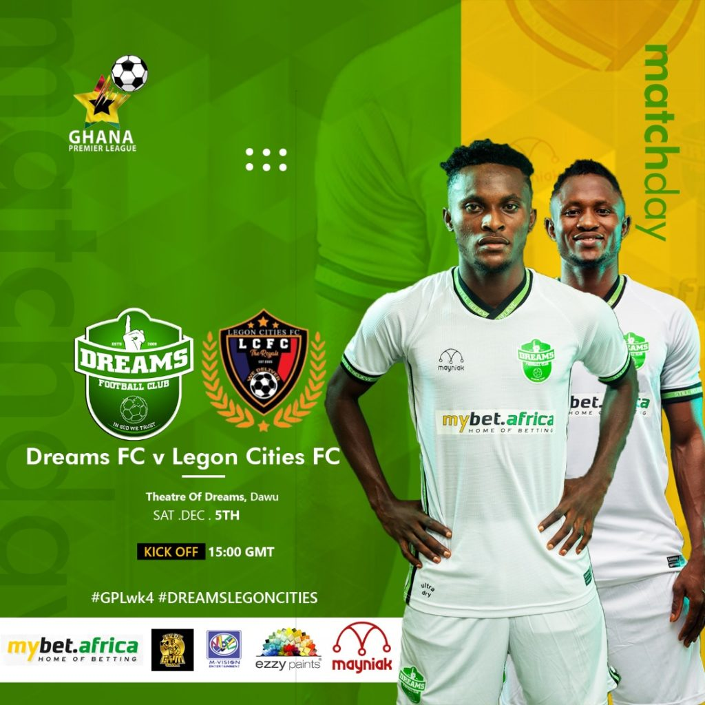 2020/21 Ghana Premier League: Week 4 Match Preview - Dreams FC v Legon Cities