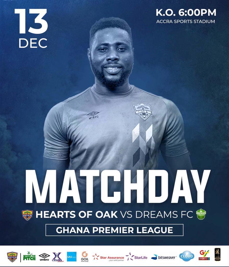 2020/21 Ghana Premier League: Live Updates- Hearts of Oak vs Dreams FC