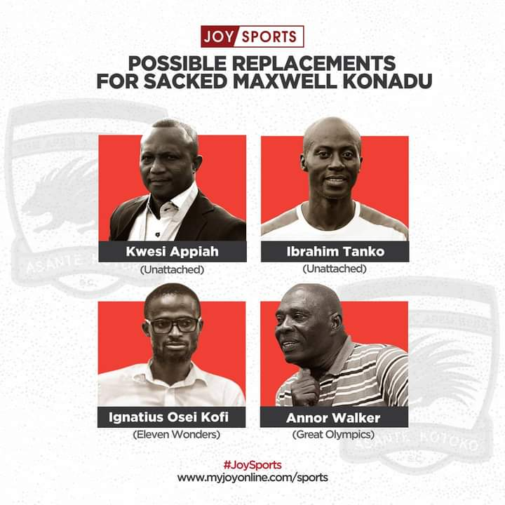Four possible candidates to replace Maxwell Konadu in the Asante Kotoko hot seat