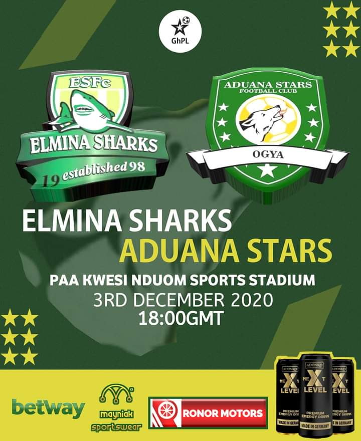 2020/21 Ghana Premier League: Week 4 Match Preview- Elmina Sharks vs Aduana Stars