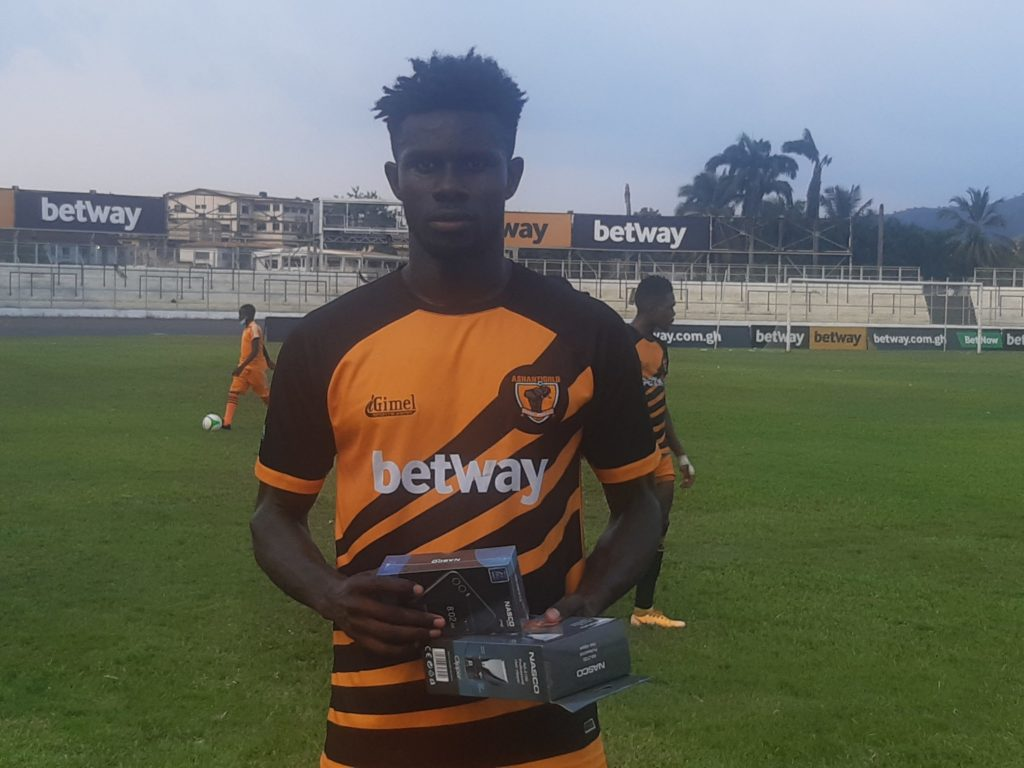 2020/21 Ghana Premier League: AshantiGold defender Michael Enu adjudged man of the match against Medeama