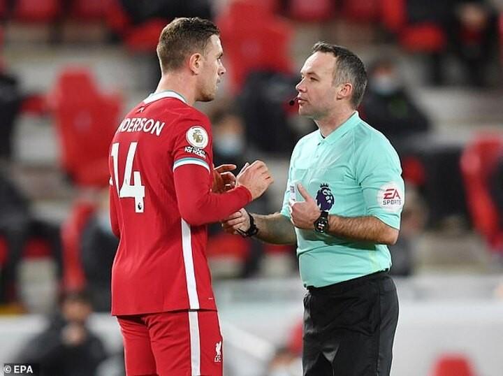 Jordan Henderson admits Liverpool 'weren't happy' with referee Paul Tierney
