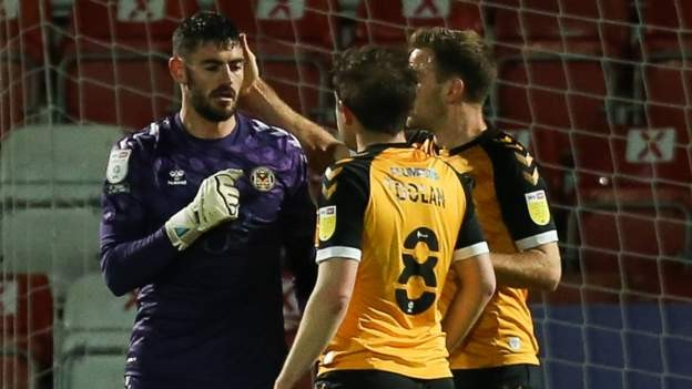 Newport keeper King scores from goal-kick