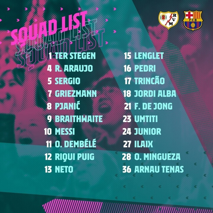 Messi leads Barcelona squad to face Vallecano as Coutinho & Dest out