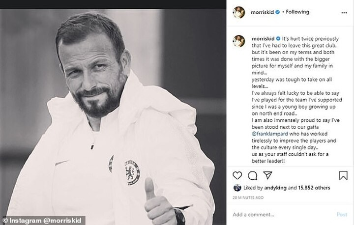 Frank Lampard's assistant Jody Morris says his Chelsea exit is 'tough to take'