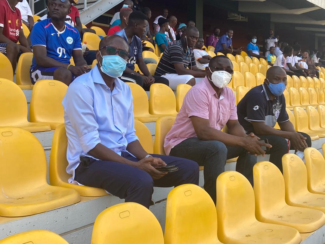 Ghana coach C.K Akonnor and assistant David Duncan watch Olympics-Ashantigold GPL game
