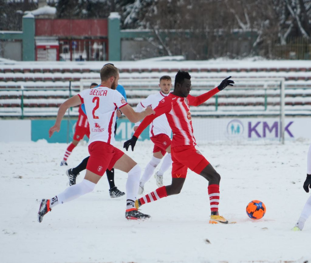 Skenderbeu striker Alfred Mensah scores for the fourth time in a row in Albania