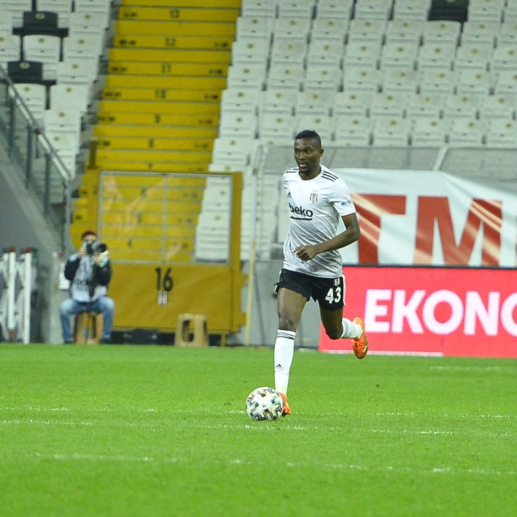 Ghana midfielder Bernard Mensah reacts to Besiktas' big win against Rizespor