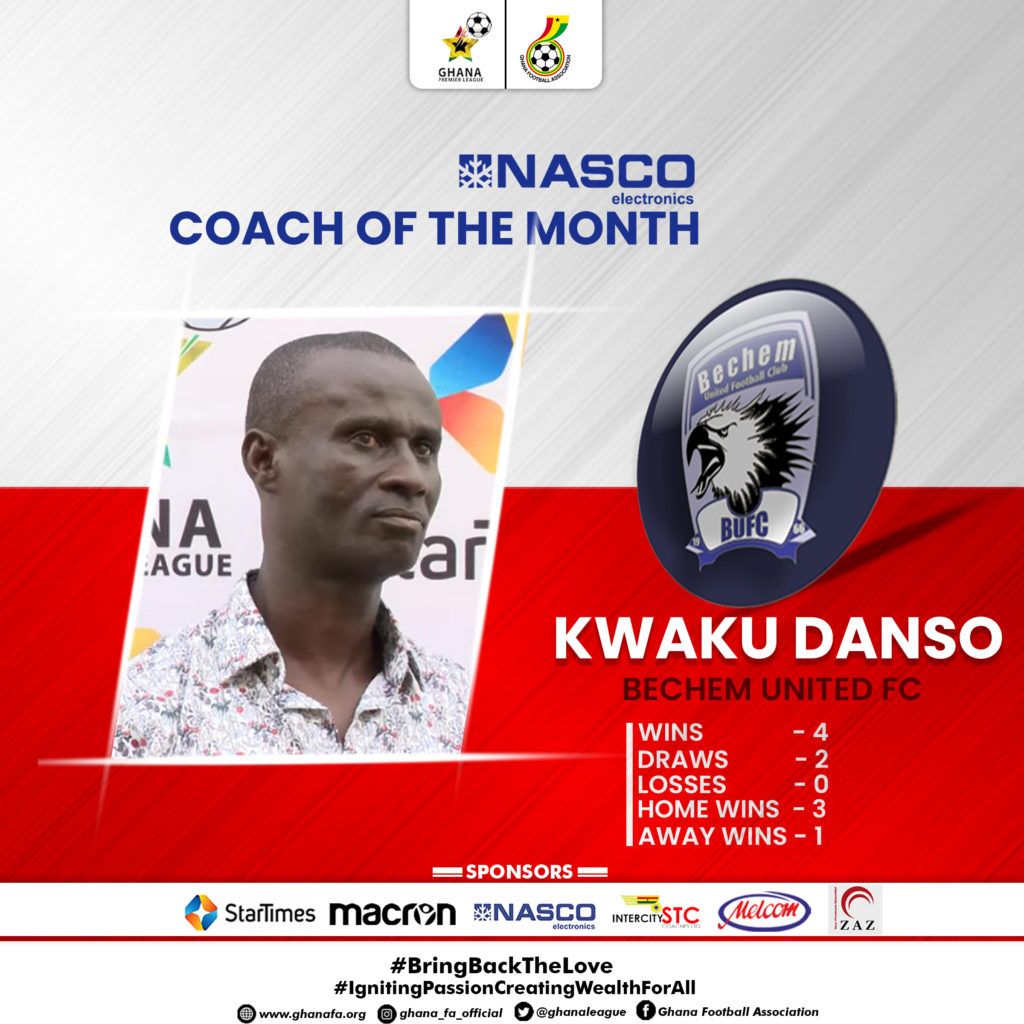 2020/21 Ghana Premier League: Bechem United coach Kwaku Danso wins coach of the month for December award