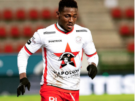 Ghana defender Daniel Opare reacts to Waregem defeat's to Leuven at home