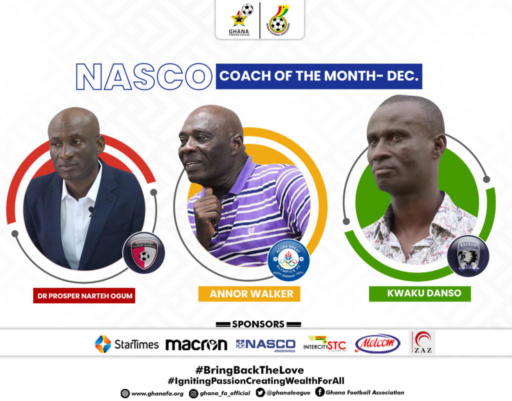 2020/21 Ghana Premier League: Coach of the month for December nominees announced