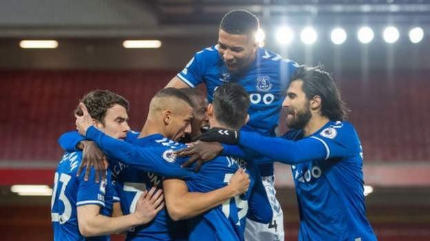 Image result for Everton secured a first Premier League win at Anfield in 22 years as goals from Richarlison and Gylfi Sigurdsson dealt a blow to Liverpool's top-four hopes.  Richarlison opened the scoring in the third minute when he was played in on goal by James Rodriguez - the Brazilian driving a low finish across Alisson.  Jordan Pickford then made a number of important saves to deny Jordan Henderson, Sadio Mane and Mohamed Salah as the hosts tried desperately to get back level.  However, Dominic Calvert-Lewin was brought down inside the box late on and Sigurdsson confidently scored from the spot as Everton secured a famous win that moves them level on 40 points with the Reds.  Liverpool, with several players unavailable, also suffered a further injury setback as Henderson limped off in the first half.  Defeat for Liverpool continued the defending champions' poor form in the Premier League as they have now lost their past four fixtures and are three points behind fourth-place Chelsea.  Reaction to Everton's win at Liverpool, plus the rest of Saturday's action More to follow.  Player of the match  Michael Keane  with an average of8.44 Liverpool Liverpool Everton Everton Avg Squad number47Player namePhillips Average rating 3.80  Squad number1Player nameAlisson Average rating 3.66  Squad number66Player nameAlexander-Arnold Average rating 3.59  Squad number14Player nameHenderson Average rating 3.58  Squad number26Player nameRobertson Average rating 3.49  Squad number23Player nameShaqiri Average rating 3.45  Squad number5Player nameWijnaldum Average rating 3.41  Squad number17Player nameJones Average rating 3.39  Squad number10Player nameMané Average rating 3.24  Squad number19Player nameKabak Average rating 3.17  Squad number27Player nameOrigi Average rating 3.13  Squad number6Player nameThiago Alcántara Average rating 3.12  Squad number11Player nameMohamed Salah Average rating 2.97  Squad number9Player nameRoberto Firmino Average rating 2.88  Line-ups Match Stats L